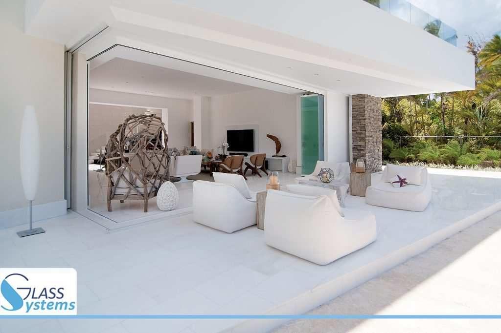 Rideau verre ouvert terrasse