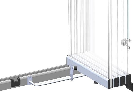 Système verrouillage vantail rideau verre