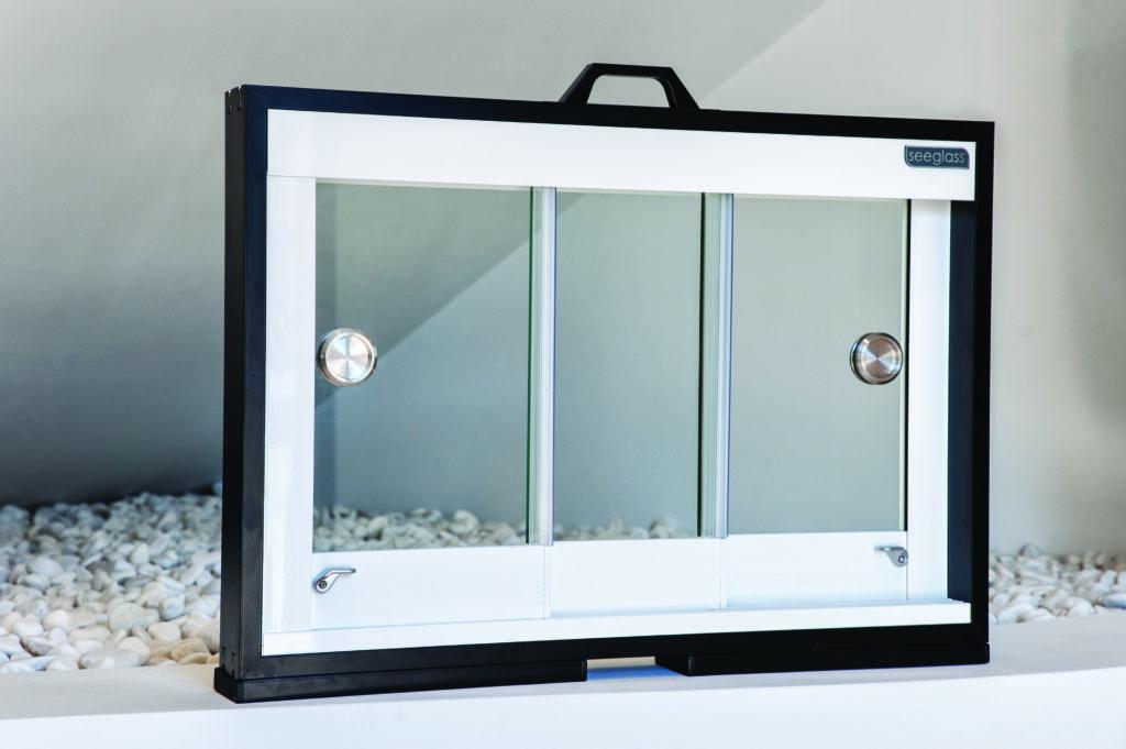 Mallette présentation coulissant en verre Seeglass